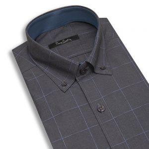 پیراهن مردانه طوسی چهارخانه آبی