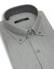 پیراهن طوسی روشن با خطهای محو