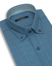 پیراهن سبز آبی چهارخانه