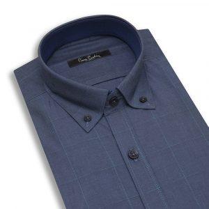 پیراهن مردانه سورمه ای چهارخانه آبی