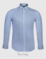 پیراهن مردانه راه راه سفیدآبی طرحدار